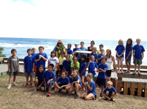 Local school children helped release the shearwaters
